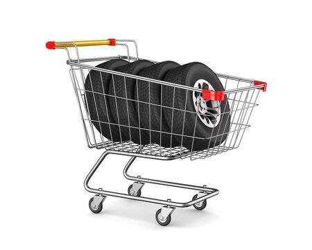 shopping cart and tyres on white background. Isolated 3D illustration