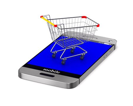 shopping cart and phone on white background. Isolated 3D illustration