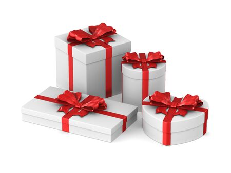 white boxes with red bow on white background. Isolated 3D illustration Stockfoto