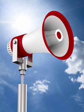 megaphone on sky background. 3D illustration Stockfoto