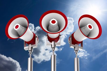 three megaphones on sky background. Isolated 3D illustration Stockfoto