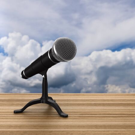 microphone on sky background. 3D illustration