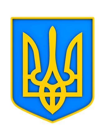 national emblem ukraine on white background. Isolated 3D illustration