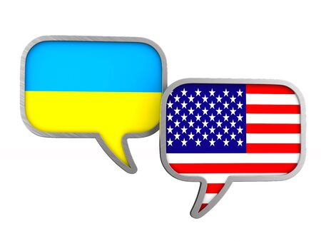 flag USA and Ukraine on white background. Isolated 3D illustration Stockfoto