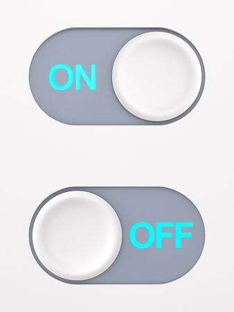 button on and off on white background. 3D illustration