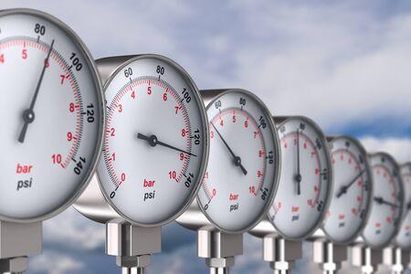 Manometer auf Himmelshintergrund. 3D-Darstellung