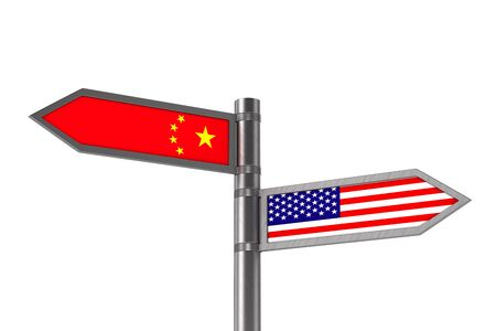 Relationship between America and China on white background. Isolated 3D illustration