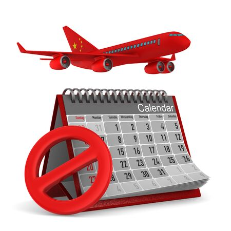 calendar and china airplane on white background. Isolated 3D illustration Zdjęcie Seryjne