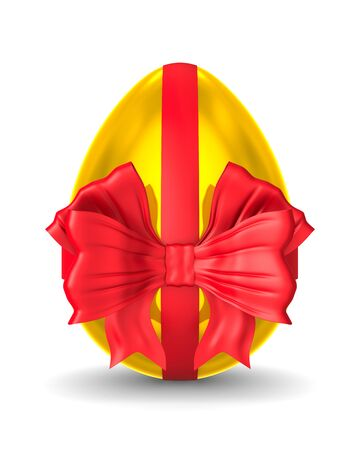 golden egg with red bow on white background. Isolated 3d illustration
