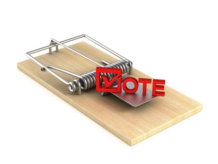 mousetrap and vote on white background. Isolated 3d illustration Reklamní fotografie