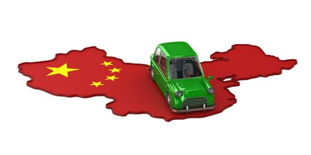 Map china and green car on white background. Isolated 3D illustration