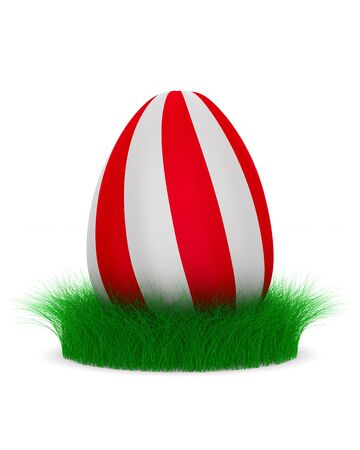 striped egg with grass on white background. Isolated 3d illustration Zdjęcie Seryjne