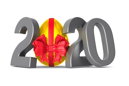2020 with golden egg on white background. Isolated 3d illustration