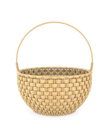 wooden wicker basket on white background. Isolated 3D illustration