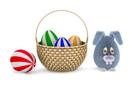 wicker basket with eggs and rabbit on white background. Isolated 3D illustration 写真素材