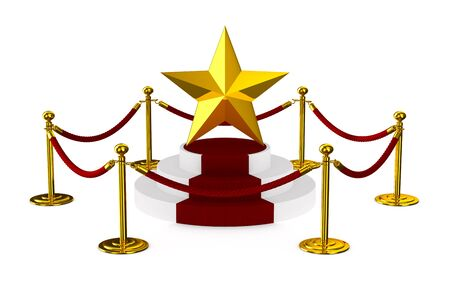 barrier rope and star on white background. Isolated 3D illustration