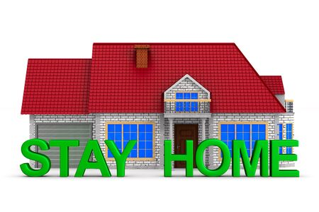 stay home on white background. Isolated 3D illustration