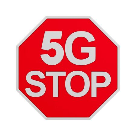 sign 5G stop on white background. Isolated 3D illustration Archivio Fotografico