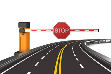 closed automatic barrier and road on white background. Isolated 3D illustration