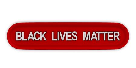 red button with text black lives matter on white background. Isolated 3d illustration 版權商用圖片