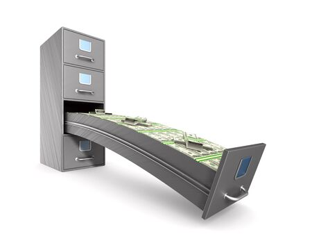 Money into filing cabinet on white background. Isolated 3D illustration