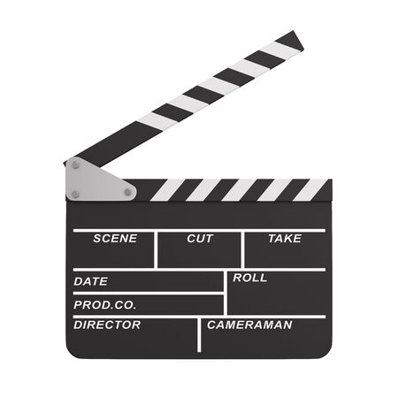 open clapper on white background. Isolated 3D illustration