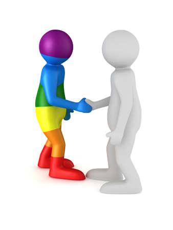 handshake on white background. Isolated 3D illustration Stock Photo