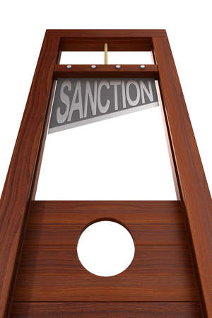 guillotine with text sanction on white background. Isolated 3d illustration 스톡 콘텐츠