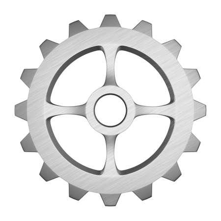 metallic gear on white background. Isolated 3d illustration Reklamní fotografie