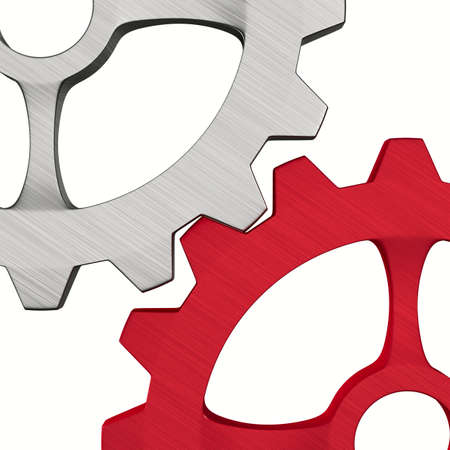 metallic gear on white background. Isolated 3d illustration