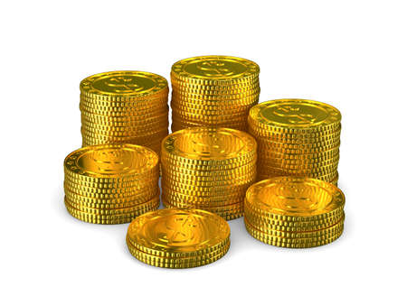coins on white background. Isolated 3d illustration
