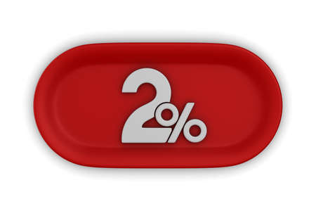 Button with two percent on white background. Isolated 3D illustration