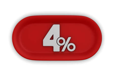 Button with four percent on white background. Isolated 3D illustration Foto de archivo