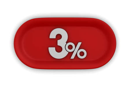 Button with three percent on white background. Isolated 3D illustration Foto de archivo