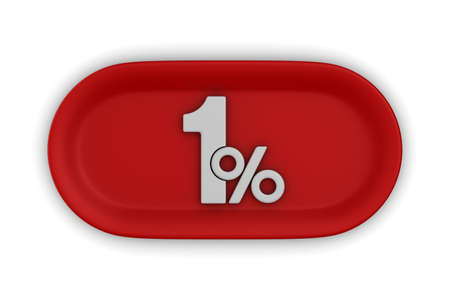 Button with one percent on white background. Isolated 3D illustration