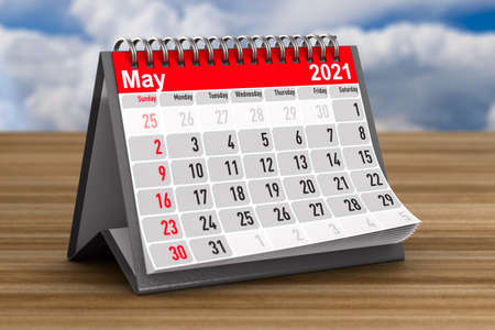 2021 year. Calendar for May. 3D illustration