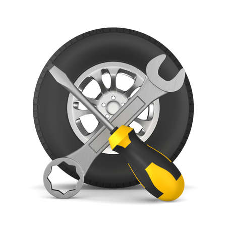 auto service on white background. Isolated 3D illustration