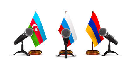 parley between Armenia, Azerbaijan and Russiaon white background. Isolated 3D illustration
