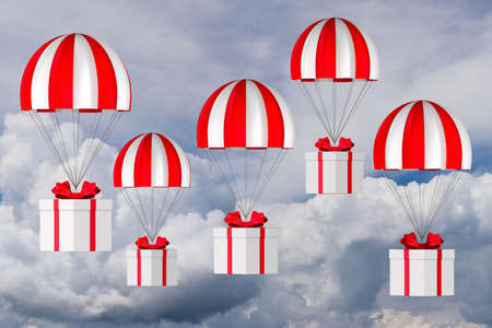 white box with red bow and parachute on sky background. 3D illustration