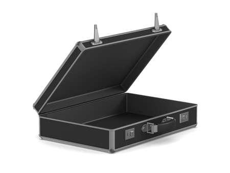 open black travel bag on white background. Isolated 3D illustration