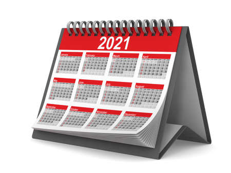 2021 year calendar on white background. Isolated 3D illustration