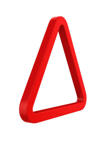 Red triangle on white background. Isolated 3D illustration
