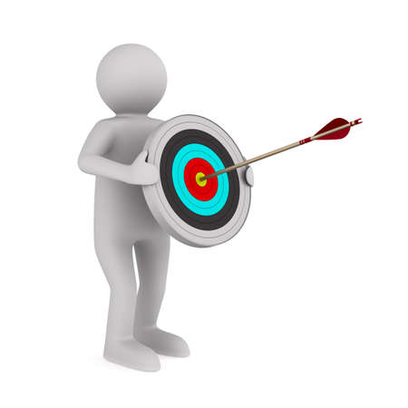 man hold arrow and target on white background. Isolated 3D illustration
