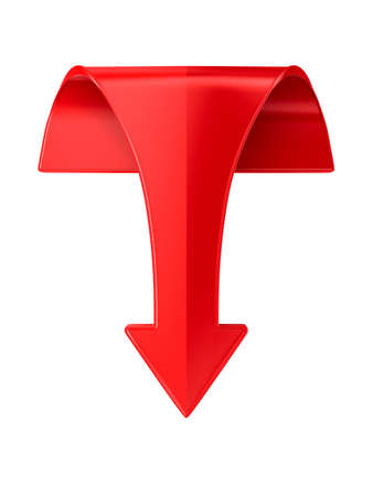 red arrow on white background. Isolated 3D illustration