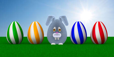 cartoon rabbit and eggs and grass on sky background. 3D illustration