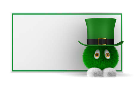 leprechaun and banner on white background. Isolated 3D illustration