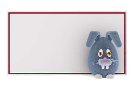 cartoon rabbit and banner on white background. Isolated 3D illustration