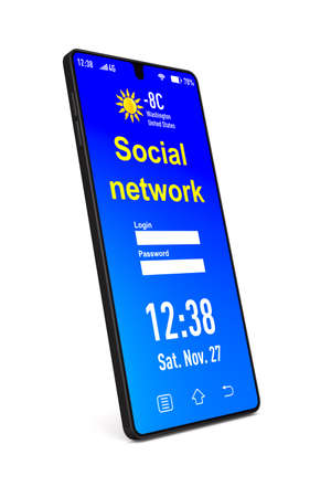 social network into phone on white background. Isolated 3D illustration Standard-Bild