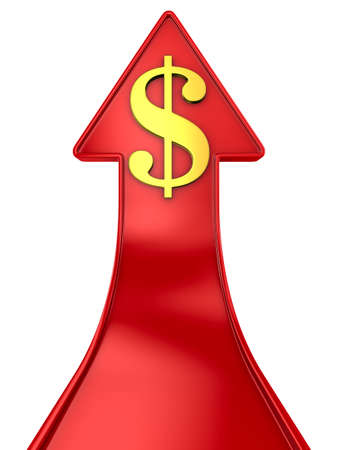 dollar sign and red arrow on white background. Isolated 3D illustration