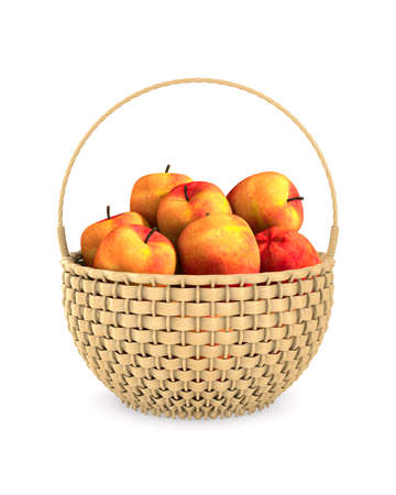 wooden wicker basket and apples on white background. Isolated 3D illustration Standard-Bild